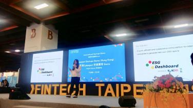 FinTech Taipei Colleague Angie at International Startup demo